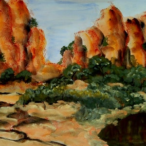 (CreativeWork) Kimberley Gorge 3 by Doodie Herman. arcylic-painting. Shop online at Bluethumb.