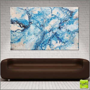 (CreativeWork) Blue Love Bomb 160cm x 100cm  Huge teal Blue textured acrylic with gloss finish  by _Franko _. arcylic-painting. Shop online at Bluethumb.