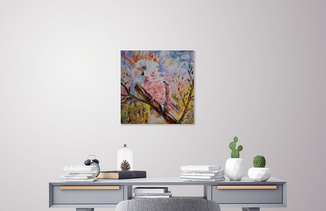 (CreativeWork) How Fire was Stolen from the Red-Crested Cockatoo  by Cynthia Farr  Baruŋggam. Mixed Media. Shop online at Bluethumb.