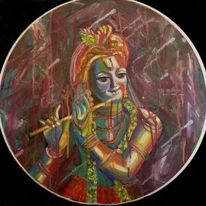(CreativeWork) Krishna by Sandhya Padma. arcylic-painting. Shop online at Bluethumb.