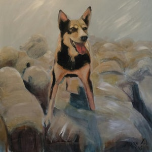 (CreativeWork) Kelpie on sheep 1 by Kylie van Tol. arcylic-painting. Shop online at Bluethumb.