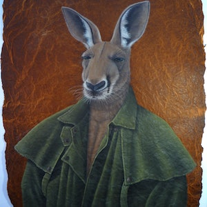 """(CreativeWork) """"Now! How much for the Akubra?"""" by Linda Joyce. arcylic-painting. Shop online at Bluethumb."""