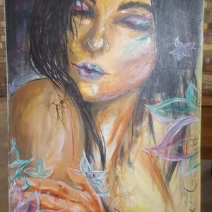 (CreativeWork) Lily by Pixie Gwynedd. arcylic-painting. Shop online at Bluethumb.