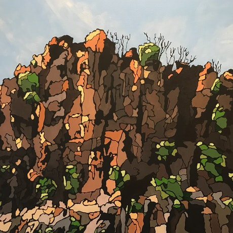 (CreativeWork) Fractured Rockface #2 by Ingrid Russell. Acrylic Paint. Shop online at Bluethumb.