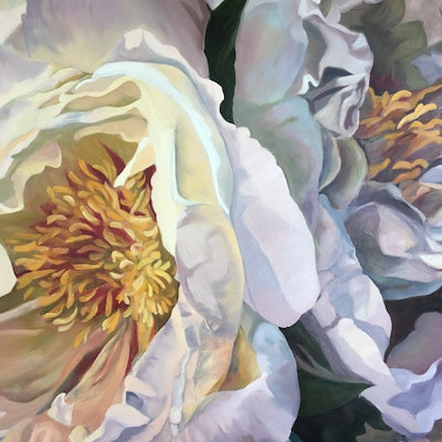 (CreativeWork) French Peonies  by Trish Arden. oil-painting. Shop online at Bluethumb.