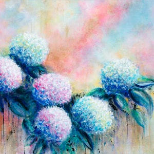 (CreativeWork) Heavenly Hydrangeas by Di Cox. arcylic-painting. Shop online at Bluethumb.