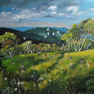 (CreativeWork) Kangaroo Meadow by Susan Trudinger. arcylic-painting. Shop online at Bluethumb.