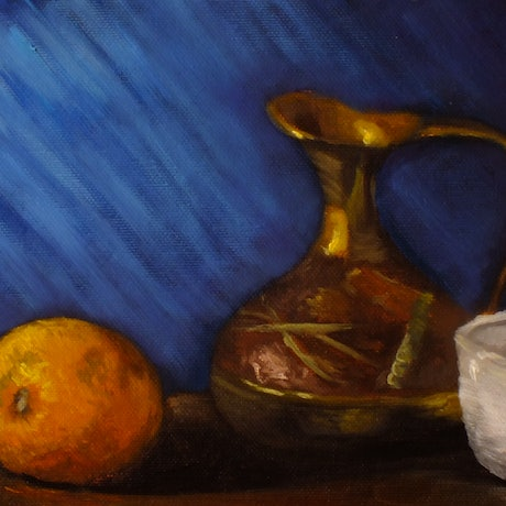 (CreativeWork) Orange, cup and jug - Still life by Christopher Vidal. Oil Paint. Shop online at Bluethumb.