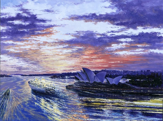(CreativeWork) Twilight Sailing In Sydney Harbour by Chijian Ye. Oil Paint. Shop online at Bluethumb.
