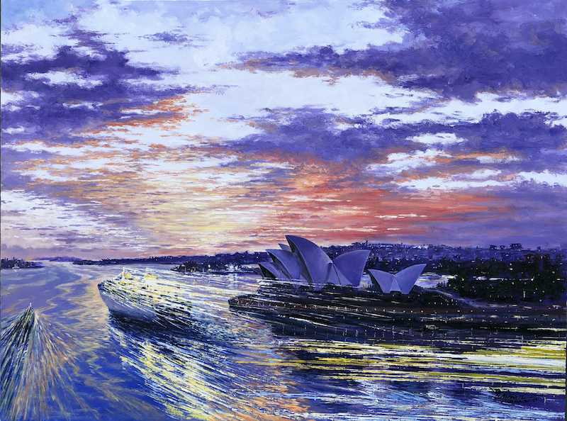 (CreativeWork) Twilight Sailing In Sydney Harbour by Chijian Ye. oil-painting. Shop online at Bluethumb.