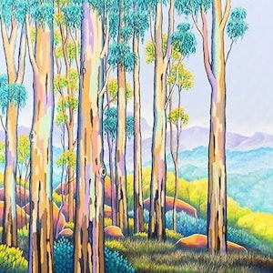 (CreativeWork) POLYCHROME EUCALYPTI 12 by Saadah Kent. arcylic-painting. Shop online at Bluethumb.