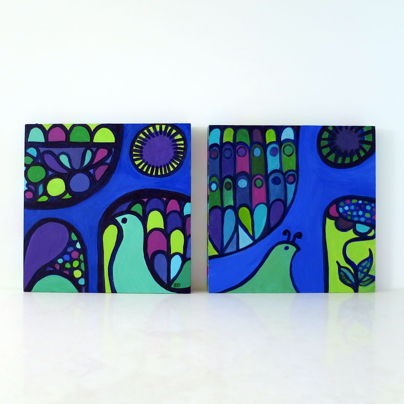 (CreativeWork) PLUME -  DIPTYCH by Shana Danon. arcylic-painting. Shop online at Bluethumb.