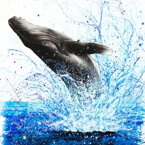 (CreativeWork) Whale Waves by Ashvin Harrison. arcylic-painting. Shop online at Bluethumb.