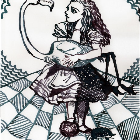(CreativeWork) Alice and the Flamingo by Fiona Lohrbaecher. Drawings. Shop online at Bluethumb.