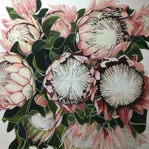 (CreativeWork) King Protea. by Julie Christensen. watercolour. Shop online at Bluethumb.