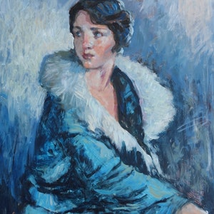 (CreativeWork) 20's Flapper by Lorraine Lewitzka. arcylic-painting. Shop online at Bluethumb.