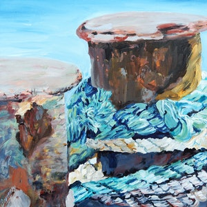 (CreativeWork) Rope on Wharf 2 by Carmen Griffen. arcylic-painting. Shop online at Bluethumb.