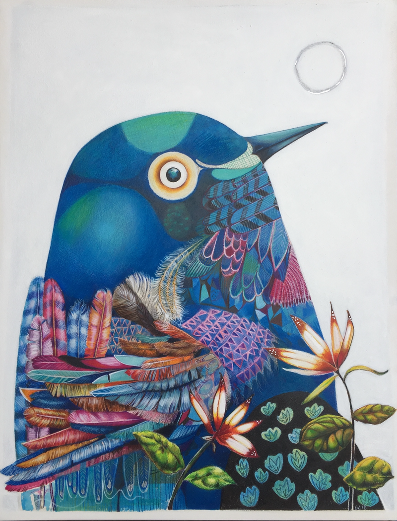 (CreativeWork) The Universe is in us all (Bird and Moon) by Greta Laundy. mixed-media. Shop online at Bluethumb.