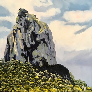 (CreativeWork) Mt Coonowrin - Glass House Mountains  by Meredith Howse. oil-painting. Shop online at Bluethumb.