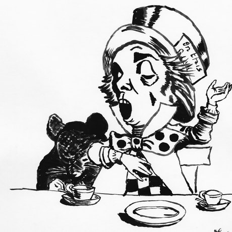 (CreativeWork) Mad Hatter and Dormouse by Fiona Lohrbaecher. Drawings. Shop online at Bluethumb.