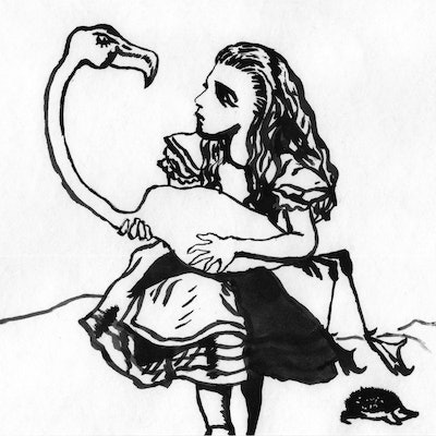 (CreativeWork) Alice and Flamingo Croquet by Fiona Lohrbaecher. Drawings. Shop online at Bluethumb.