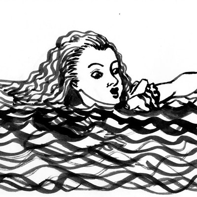 (CreativeWork) Alice in the Pool of Tears by Fiona Lohrbaecher. Drawings. Shop online at Bluethumb.