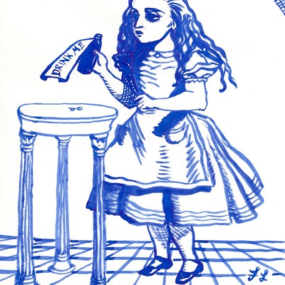 (CreativeWork) Drink Me - Alice and the Bottle  by Fiona Lohrbaecher. Drawings. Shop online at Bluethumb.