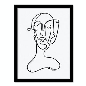 (CreativeWork) Faces Ink - A3 Black Frame   by Angus Martin. drawing. Shop online at Bluethumb.
