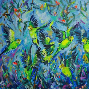 (CreativeWork) Budgies by Katerina Apale. arcylic-painting. Shop online at Bluethumb.