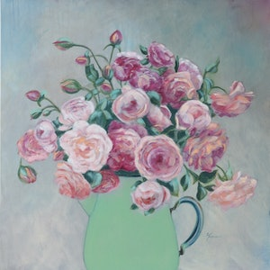 (CreativeWork) Green Jug by Fiona Buchanan. arcylic-painting. Shop online at Bluethumb.