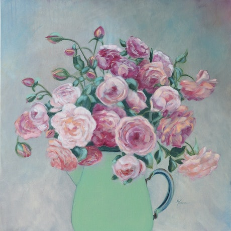 (CreativeWork) Green Jug by Fiona Buchanan. Acrylic Paint. Shop online at Bluethumb.