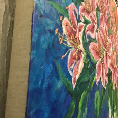 (CreativeWork) Abundance, Stargazer Lilies, oil on linen by Sharon DeSailly. Oil Paint. Shop online at Bluethumb.