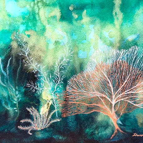 (CreativeWork) Emerald Seas by Donna Maloney. Watercolour Paint. Shop online at Bluethumb.