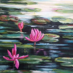 (CreativeWork) Water Lilly Sunday by Leanne Manns. arcylic-painting. Shop online at Bluethumb.