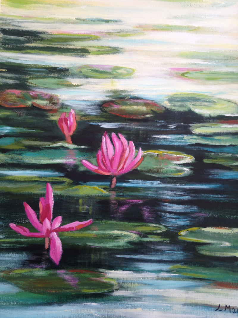 (CreativeWork) Water Lilly Sunday by Leanne Manns. Acrylic Paint. Shop online at Bluethumb.