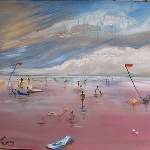 (CreativeWork) Sunset beach stormy day pink sky by Lynne ( Dorothy Lynne) Pickering. arcylic-painting. Shop online at Bluethumb.