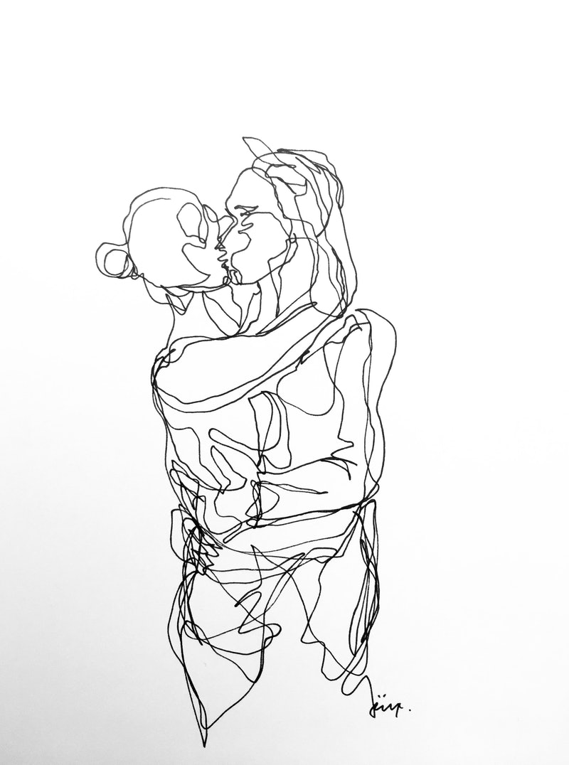 Dont let go hold me kiss me original drawing