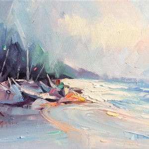 (CreativeWork) Sorrento boats by Liliana Gigovic. oil-painting. Shop online at Bluethumb.