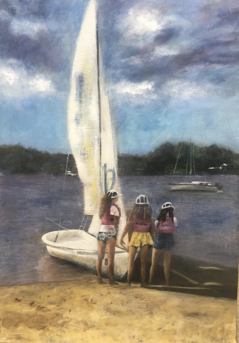 (CreativeWork) Sailing on the  Noosa river by christine forbes. oil-painting. Shop online at Bluethumb.