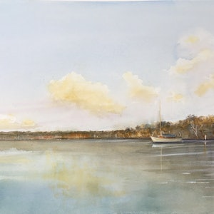 (CreativeWork) Quiet Mooring  , Noosa River, Tewantin , Queensland. by Geoff Stanistreet. watercolour. Shop online at Bluethumb.