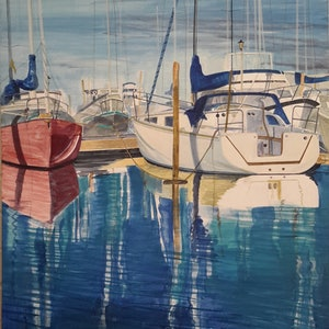 (CreativeWork) BOATS IN MARINA by Lise Staff. arcylic-painting. Shop online at Bluethumb.