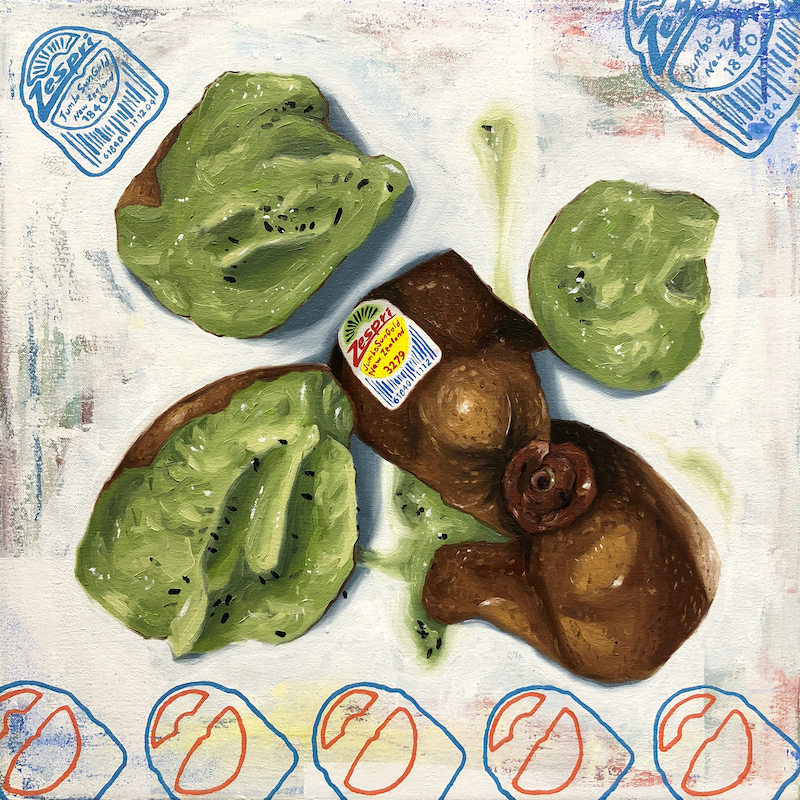 (CreativeWork) Smashed Kiwi by Hugo Mathias. Oil Paint. Shop online at Bluethumb.