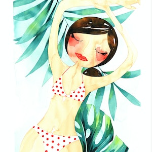 (CreativeWork) Paradise - original watercolour by Gill Cameron  - Line for a Walk. watercolour. Shop online at Bluethumb.