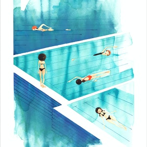 (CreativeWork) Sunday Swim - original watercolour by Gill Cameron  - Line for a Walk. watercolour. Shop online at Bluethumb.