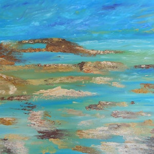 (CreativeWork) Somewhere Blue by Sharon Robards. oil-painting. Shop online at Bluethumb.