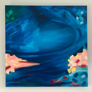 (CreativeWork) Coral Reef by Karen Goddard. oil-painting. Shop online at Bluethumb.