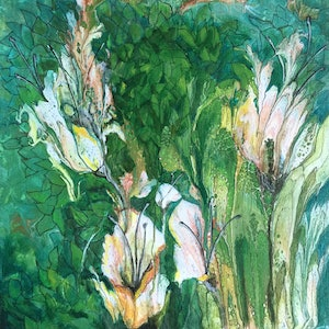 (CreativeWork) Lily and leaves  by Helen Pilkington. mixed-media. Shop online at Bluethumb.