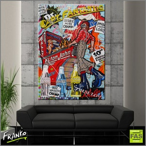 (CreativeWork) Captain Fantastic 140cm x 100cm Acrylics, Sugar Sprays, Texture, Gloss finish Urban Pop Art Bally Pinball Board Captain Fantastic and the Brown Dirt Cowboy by _Franko _. arcylic-painting. Shop online at Bluethumb.