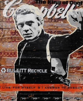 (CreativeWork) I Live For Myself 101cm x 122cm Steve McQueen Recycled Timber Acrylics, Sugar Sprays, Acrylics Urban Pop Art by _Franko _. Mixed Media. Shop online at Bluethumb.