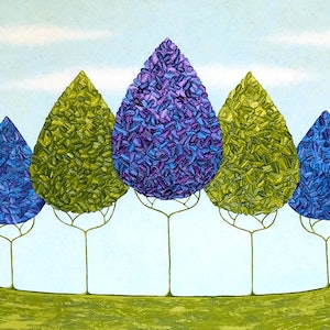 (CreativeWork) Summer Trees In The Grove - Large Painting by Lisa Frances Judd. arcylic-painting. Shop online at Bluethumb.
